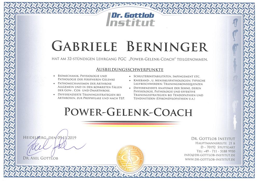Ausbildung Power Gelenk Coach am Dr. Gottlob Institut